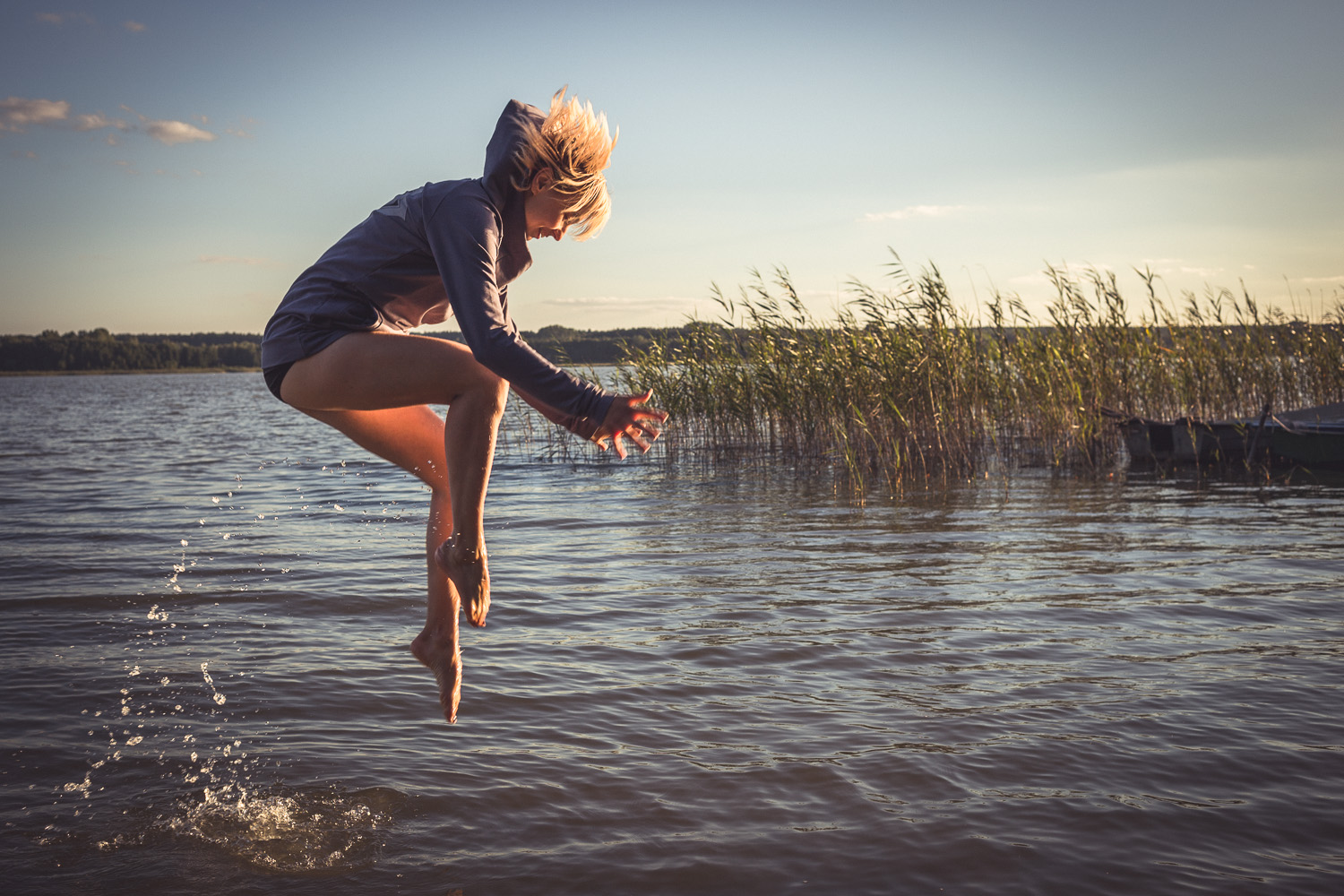 Hydrophobia. Debilitating whilst standing in a lake.